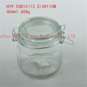 460ml Diamond Pattern Glass Storage Jar with Seal pictures & photos