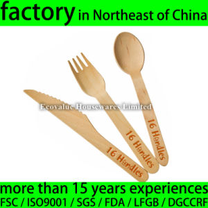 Wooden Cutlery with Logo Hot Stamped pictures & photos