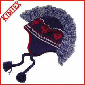 Unisex Winter Fashion Acrylic Jacquard Knitted Mowhawk Hat pictures & photos