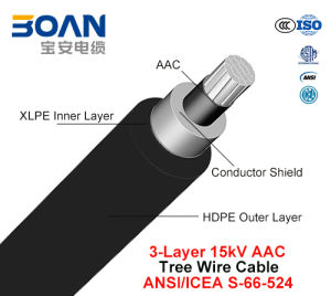Tree Wire Cable 15 Kv 3-Layer AAC (ANSI/ICEA S-66-524) pictures & photos