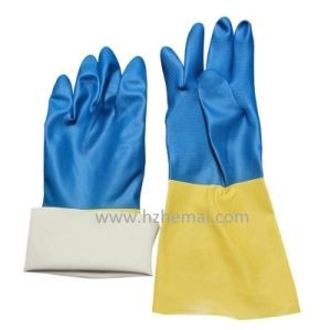 Long Chemical Blue Nitrile Fully Dipped Working Glove pictures & photos