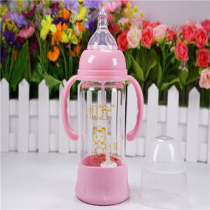180ml Crystal Diamond Baby Glass Bottle with Bottom Set pictures & photos