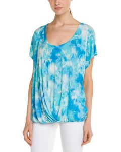 Ladies′ Tie-Dye T-Shirt with Gathered Hem