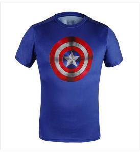 Men′s Tights Captain America Sport Short Sleeves T-Shirt Dress