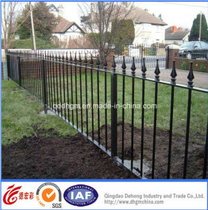 Decorative Black Powder Coated Wrought Iron Fences/Steel Solid Bar Fence Gate Design pictures & photos