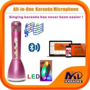 Portable Wireless Bluetooth Microphone with Colorful LED Lights Home Mini Karaoke Player KTV Singing Record for iPhone Smart Phone Tablet PC Laptop