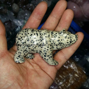 Semi Precious Stone Damatian Jasper Crystal Polar Bear Carving Skupture pictures & photos
