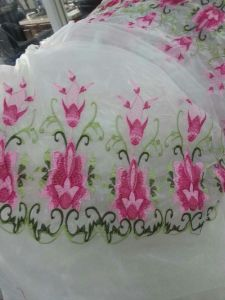Pink Color Embroidery Organza Lace Fabric for Dress pictures & photos
