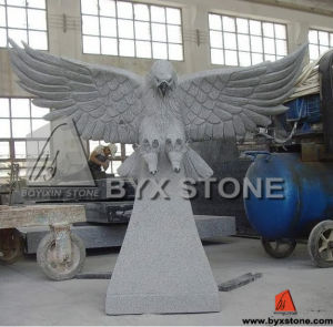 Carved Eagle Sculpture Granite Monument for Cemetery pictures & photos
