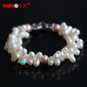 Double Strands 100% Real Natural Freshwater Pearl Bracelets (E150045) pictures & photos