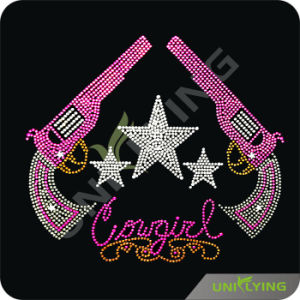 Pink Double Guns Hot Fix Rhinestone Gun