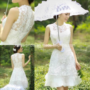 Crew Sleeveless Short Sheath Lace Bridal Gowns Wedding Dresses Z8037 pictures & photos