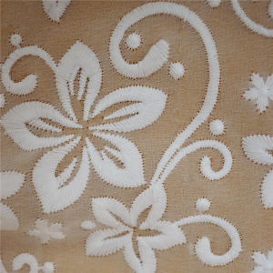 Embroidered Fabric Polyester Net Embroidery Lace (GF1008) pictures & photos