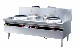 Commercial Gas Stove, Chinese Cooking Range with Blower---Double Heads Wok Range with 2 Rear Pots (FG1E120RG) pictures & photos