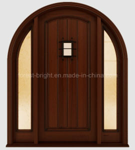 Craftsman Style Exterior Solid Wooden Door with Two Side Lites pictures & photos