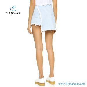 Fashion Light-Wash Women Denim Shorts Ladies Skirts pictures & photos