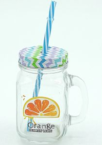 Handle Strew Mason Jar Fruit Decal Drinkware Glassware pictures & photos