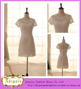 New Sexy Lace Short Sleeve Scoop Appliques Elegant Length Sexy Short Wedding Dresses Yj0010