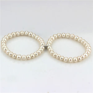 Fresh Water Pearls Bracelet 6.5-7.5mm a+ Near Round White Pearl Bracelet pictures & photos