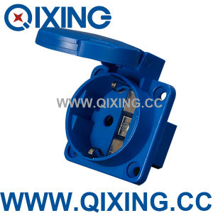 Qixing IEC 603 Plastic 16AMP 220-250V Blue Schuko Socket pictures & photos