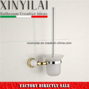 Gold Luxury Chrome Toilet Brush Holder with Glass Tumbler pictures & photos