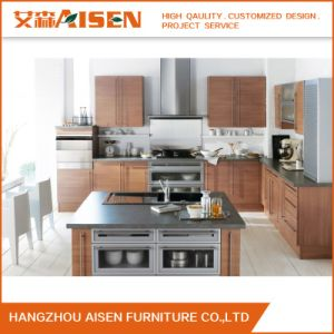 Custom Made Modern Wood Grain Melamine Kitchen Cabinet pictures & photos