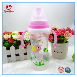 Wide Neck Infant Feeding Bottle with Double Colors Handle pictures & photos