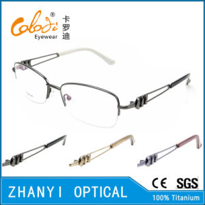 Retro Style Semi-Rimless Titanium Optical Glasses Frame Eyeglass Eyewear (T453-EW)