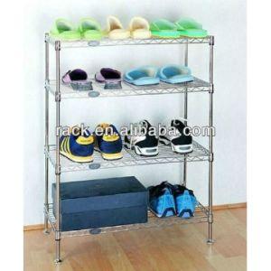 Adjustable DIY 4 Shelves Chrome Wire Metal Flat Shoecase pictures & photos