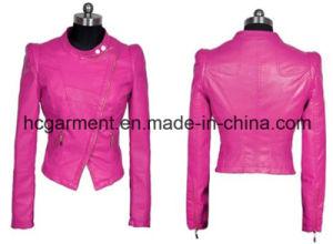 Fashion Punk PU Belt Jacket for Lady/Women, Leather Coat pictures & photos