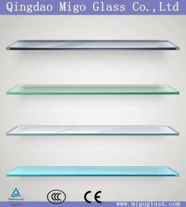 6mm 8mm 10mm 12mm Clear / Colored Tempered Glass Shelf with High Polished Edge pictures & photos