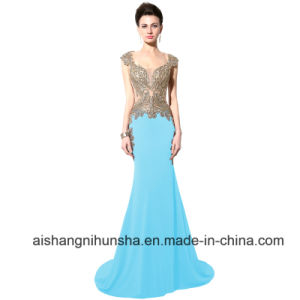 Elegant Royal Blue Sheer Embroidery Crystal Formal Evening Dresses pictures & photos