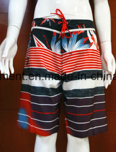 Strip Polyester/ 4 Way Quickly Dry Board Shorts of Man′s pictures & photos
