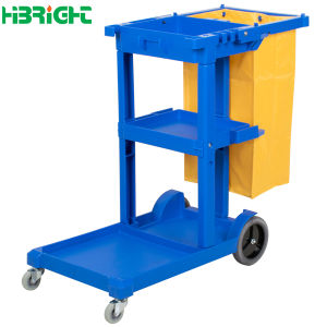 4 Wheels Plastic Hotel Cleaning Trolley Cart pictures & photos