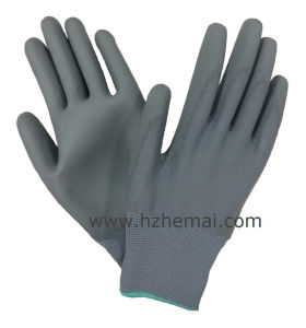 Grey PU Gloves with Black Nylon Liner Safety Work Glove pictures & photos