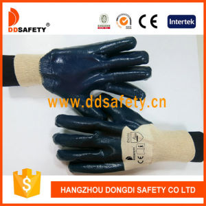 Ddsafety 2017 Cotton Blue Nitrile Glove Knitted Wrist Safety Gloves pictures & photos