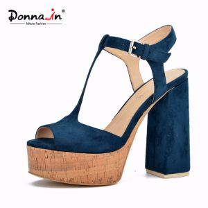 Lady Casual T-Strap Microfiber Cork Platform Women High Heels Sandals pictures & photos
