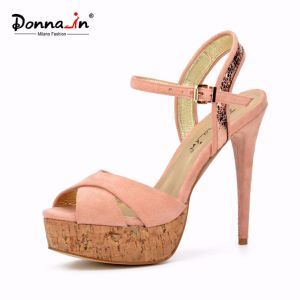 Lady High Heels Cork Platform Stiletto Dress Shoes Women Sandals