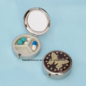 One Side Mirror Other Side 3 Compartments Portable Epoxy Pill Box BPS0229