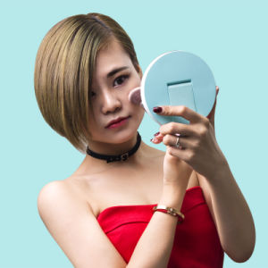 2017 Beautiful Shapes of Small LED Cosmetic Mirror (rk16) pictures & photos
