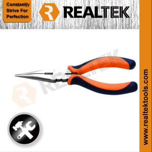 Professional Nickel-Plated Long Nose Pliers with Bi-Color Dipped Handles pictures & photos