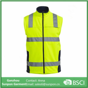 High Visibility Softshell Vest with Reflective Tape pictures & photos