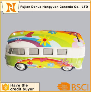 Hot Sale Ceramic Rainbow Bus Coin Bank for Kids pictures & photos