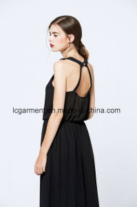 Black Chiffon Woman Dress Sleeveless Halter Neck Backless Maxi Latest Dress pictures & photos