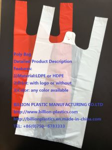 Poly T-Shirt Bag Hand Lenth Handle Bag Shopping Bag TF-17071301 pictures & photos