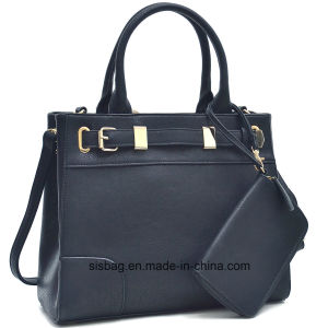 Navy Color Women Handbag PU Leather Fashion Bags with Wallet pictures & photos