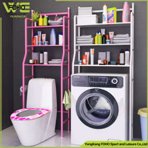 3 Tier Metal Steel Tube Pipe Washing Machine Storage Rack, Floor Bathroom Toilet Closetool Rack Shelf pictures & photos