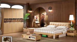 Wholesale Cheap Chinese Wood Double Bed Design Furniture Set (UL-LF015) pictures & photos