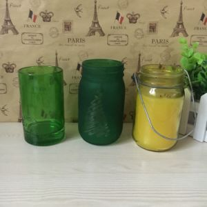 Hot Sell 16oz Candle Making Glass Mason Jar with Tin Lid and Handle pictures & photos