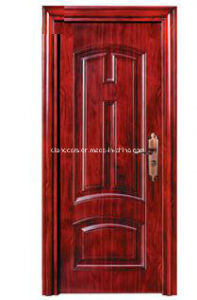 Heat Transfer Wood Grain Strong Steel Security Door for Hotel pictures & photos